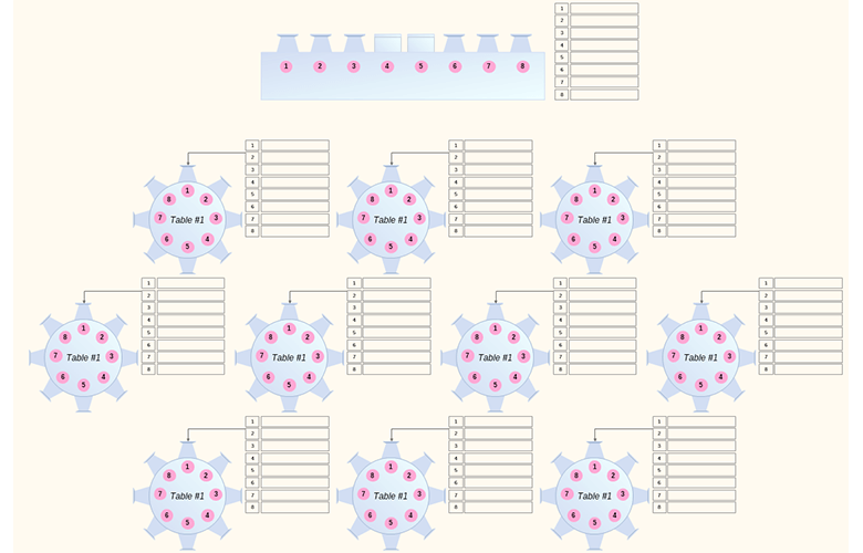 Blue Pink Wedding Seating Chart