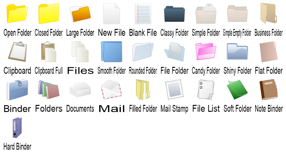 File and Folder Shapes Preview Large