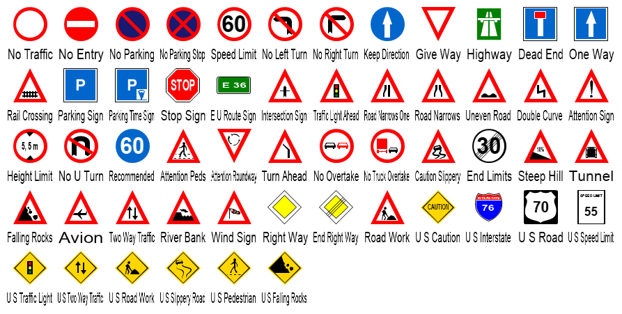 Traffic Sign Shapes Preview Large