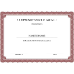 Community Service Award Certificate thumb