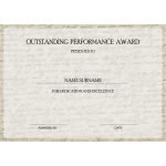 Outstanding Performance Award Certificate thumb