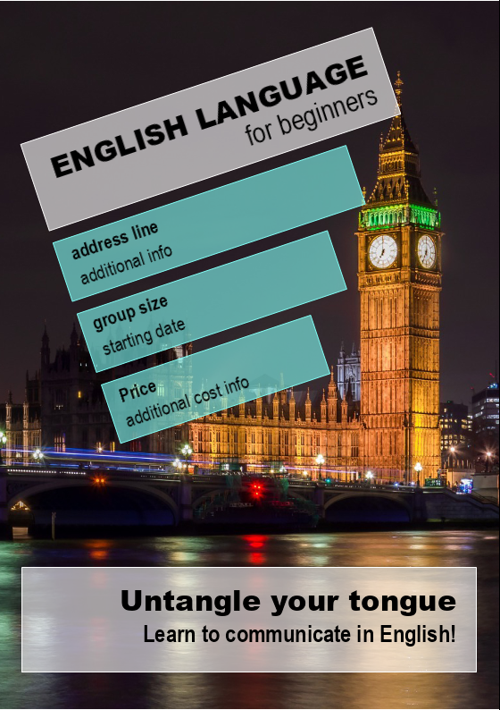 English Language For Beginners Flyer