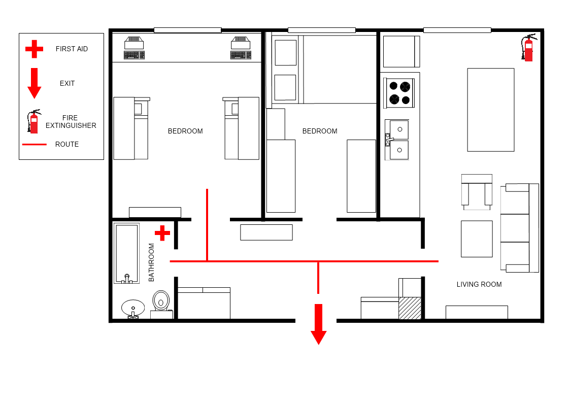 Apartment Evacuation Plan Template Mydraw