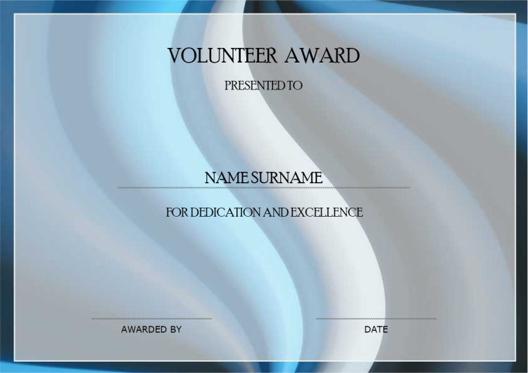 Volunteer Award Certificate