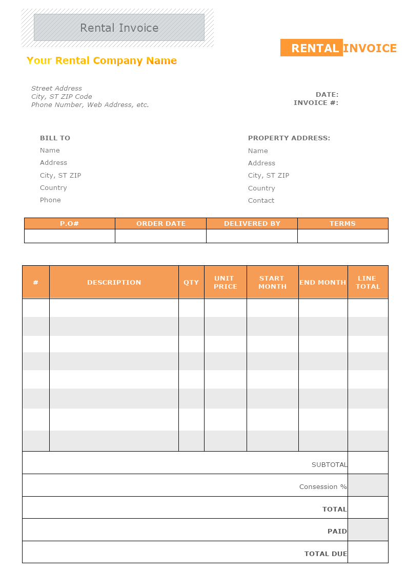 Rental Invoice Template Mydraw