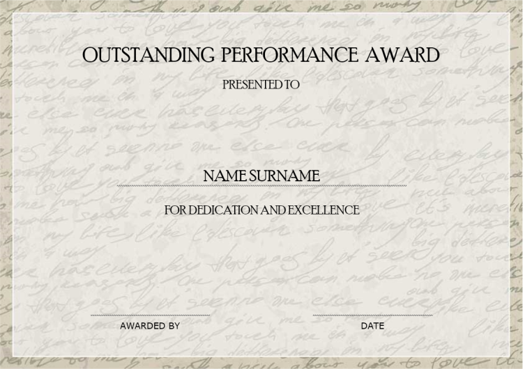 Outstanding Performance Award Certificate