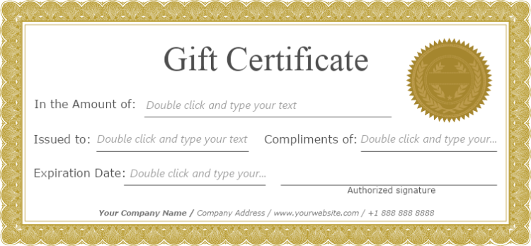 classic frame gift certificate template
