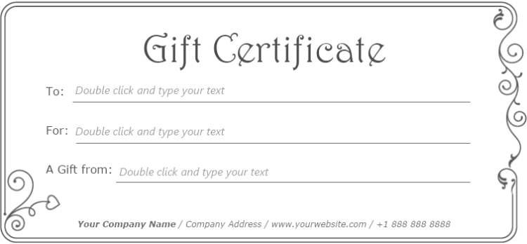 simple gift certificate template mydraw
