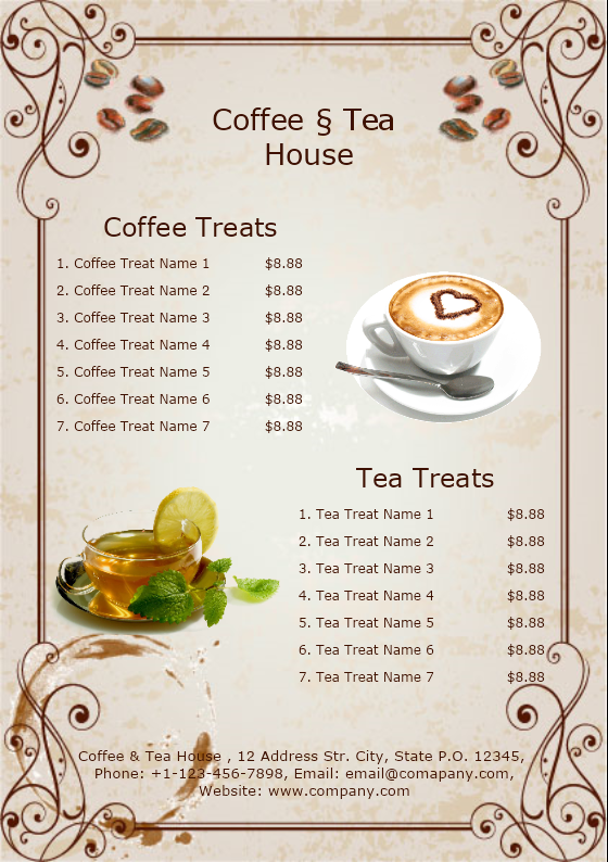 Coffee and Tea House Menu
